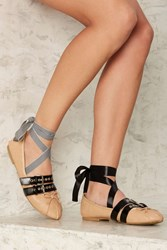 Tight Wrap Lace Up Ballet Flat Beige