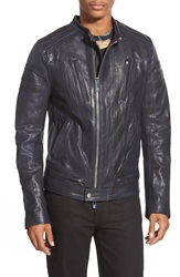 Rogue Cafe Racer Leather Jacket Navy