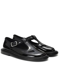 Burberry Alannis Patent Leather Mary Jane Flats Black