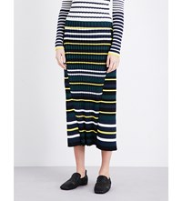 Pringle Of Scotland Striped Ribbed Knit Midi Skirt Off White Midnight