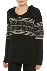 Sanctuary Baja Fair Isle Hooded Pullover Black
