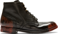 Dolce And Gabbana Black And Red Smudges And Distressed Combat Boots