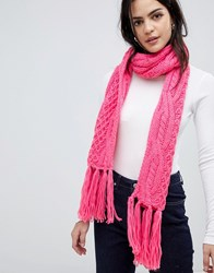 Vero Moda Cable Knitted Scarf Pink
