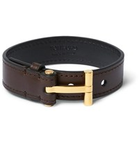Tom Ford Leather And Gold Plated Sterling Silver Bracelet Brown