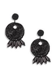 Kenneth Jay Lane Seed Bead Round Gypsy Hoop Clip On Earrings Black