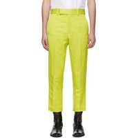 Haider Ackermann Yellow Linen Skinny Leg Trousers