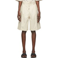 Jil Sander Off White Pleated Shorts