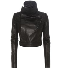 Rick Owens Cropped Leather Biker Jacket Black