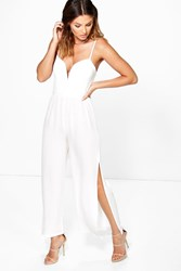 Boohoo Split Leg Lace Detail Jumpsuit Cream
