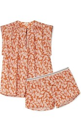 Love Stories Mila And Sunday Printed Cotton Poplin Pajama Set Papaya