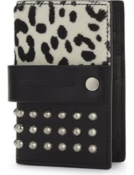Alexander Mcqueen Leather Studded Card Holder White Black