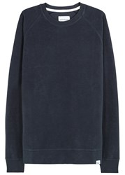 Norse Projects Ketel Navy Brushed Cotton Sweatshirt