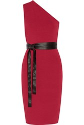 Noir Sachin And Babi Manga One Shoulder Belted Jersey Dress Red