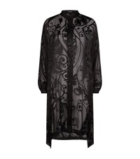 Eskandar Long Silk Devore Shirt Female Black