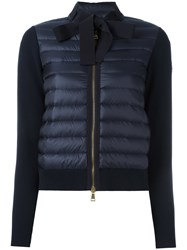 Moncler Padded Front Tie Collar Jacket Blue