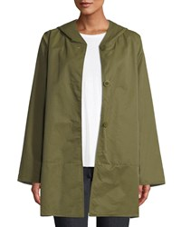 Eileen Fisher Reversible Organic Cotton Nylon Hooded Raincoat Olive