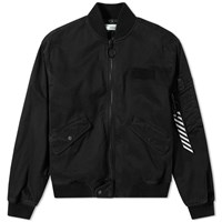 Off White Vintage Wash Bomber Jacket Black