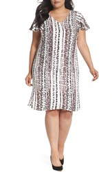 Sejour Plus Size Women's Flutter Sleeve Shift Dress Ivory Coral String Of Beads