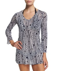 Milly Buzios Chain Print Tunic Coverup White Navy
