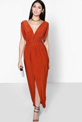 Boohoo Wrap Front Plunge Neck Maxi Dress Spice