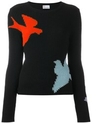 Red Valentino Bird Intarsia Ribbed Jumper Black