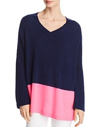 Bloomingdale's C By Color Block Cashmere Sweater 100 Exclusive Navy