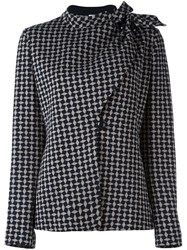 Armani Collezioni Checked Wrap Jacket Grey
