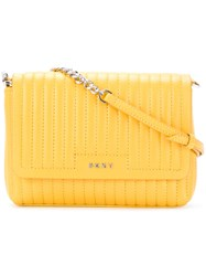 Dkny Quilted Shoulder Bag Women Leather One Size Yellow Orange