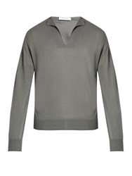 Boglioli V Neck Cotton And Silk Blend Sweater Grey