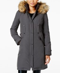 Vince Camuto Faux Fur Trim Hooded Parka Charcoal