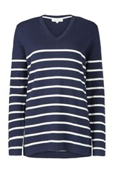 Tulchan Stripe V Neck Jumper White