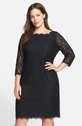 Plus Size Women's Adrianna Papell Lace Overlay Sheath Dress Black