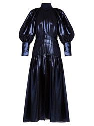 Ellery Sword Bubble Sleeved Silk Blend Maxi Dress Navy