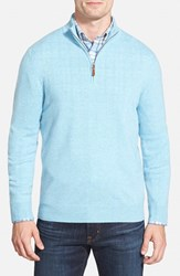 Men's Big And Tall Nordstrom Regular Fit Cashmere Quarter Zip Pullover Blue Skyway