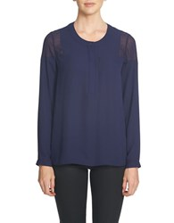 1.State Long Sleeve Sheer Shoulder Henley Blouse Evening Navy