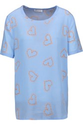 Equipment Riley Printed Washed Silk T Shirt Sky Blue