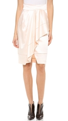 J. Mendel Asymmetrical Draped Wrap Skirt Blush