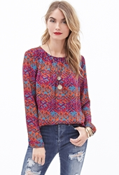Forever 21 Pleated Tribal Print Blouse