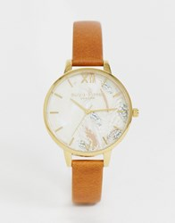 Olivia Burton Ob16vm39 Abstract Floral Leather Watch Tan
