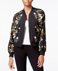 Rachel Roy Floral Print Bomber Jacket Only At Macy's Black Combo