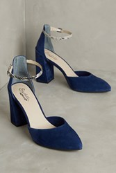 Anthropologie Seychelles Gaggle Ankle Strap Heels Blue