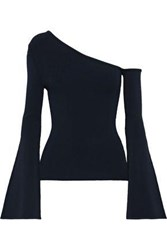 Autumn Cashmere Woman One Shoulder Stretch Knit Top Navy