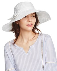 Aqua Ribbon Floppy Sun Hat With Bow 100 Exclusive White