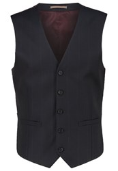 Burton Menswear London Windowpane Waistcoat Navy Dark Blue