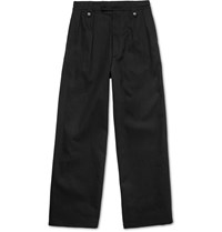 Raf Simons Wide Leg Cotton Blend Trousers Black