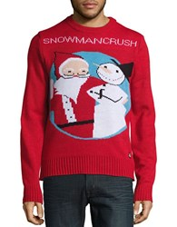 American Stitch Snowman Crush Ugly Christmas Sweater Red