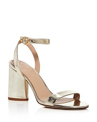 Tory Burch Elizabeth Metallic Leather Ankle Strap High Heel Sandals Spark Gold