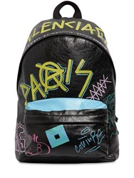 Balenciaga Grafitti Printed Leather Backpack Black