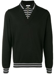 Dirk Bikkembergs Panelled Polo Sweater Black