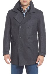 Men's Big And Tall Marc New York By Andrew Marc 'Mulberry' Tall Double Breasted Wool Blend Peacoat Charcoal